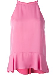Diane Von Furstenberg Halterneck Peplum Tank Top Pink And Purple