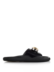 Christopher Kane Metal Crystal Leather Slides