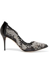 Oscar De La Renta Alyssa Embellished Mesh And Patent Leather Pumps Silver