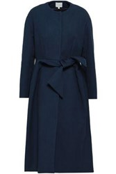 Delpozo Cotton Blend Crepe Coat Navy