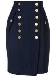 Moschino Cheap And Chic Decorative Button Skirt Blue