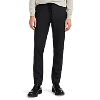 Barneys New York Wool Blend Flannel Slim Drawstring Trousers Charcoal