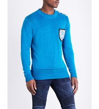 Balmain Mariniere Relief Badge Patch Linen Knitted Jumper Turquoise