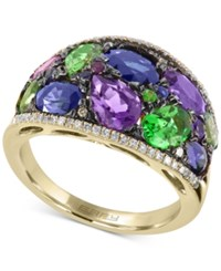 Effy Collection Watercolors By Effy Multi Gemstone 4 1 3 And Diamond 1 5 Ct. T.W. Wide Style Ring In 14K Gold