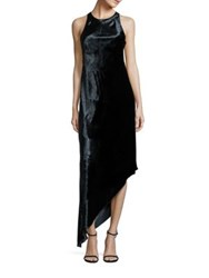 Aidan Mattox Velvet Asymmetrical Bias Cut Dress Twilight