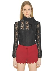 Red Valentino Techno Jersey Lace Top