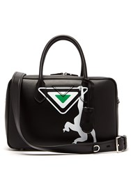 Prada Monkey Print Leather Bowling Bag Black Multi