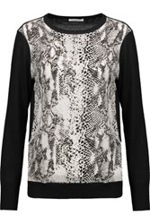 Equipment Roland Paneled Wool And Snake Print Washed Silk Top Black