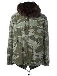 Mr And Mrs Italy Camouflage Printed Fur Parka Green