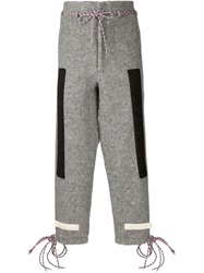 Off White Patch Detail Drawstring Trousers Grey