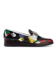 Toga Pulla Brush Print Loafers Black
