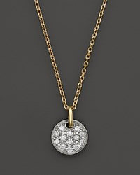 Bloomingdale's Diamond Pave Small Disk Pendant Necklace In 14K White And Yellow Gold .18 Ct. T.W. 100 Exclusive Multi