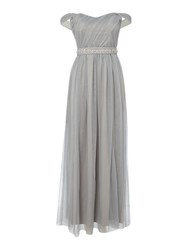 Little Mistress Off The Shoulder Embellished Waist Dress Grey