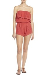 Junior Women's Billabong 'Behind The Sun' Strapless Romper Hibiscus
