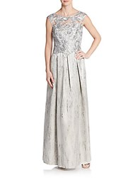 Kay Unger Lace Bodice Gown Silver