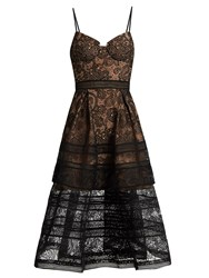 Self Portrait Paisley Lace Midi Dress Black