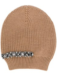 N 21 No21 Crystal Embellished Beanie Women Silk Wool Metal Other Glass One Size Nude Neutrals