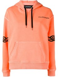 Filles A Papa Logo Print Hoodie Yellow And Orange