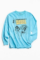 Urban Outfitters Kostas Seremetis X Marvel Ghost Rider Long Sleeve Tee Bright Blue