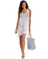 Profile By Gottex Crochet High Low Cover Up Women's Swimsuit White