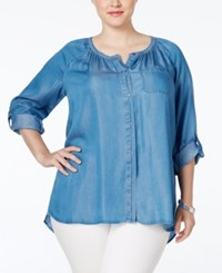 Styleandco. Style And Co. Plus Size Denim Peasant Shirt Only At Macy's Sun Wash