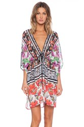 Clover Canyon Floral Scarf Print Cover Up Black