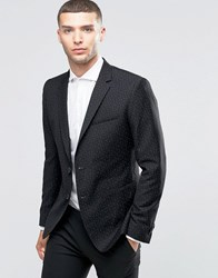 Sisley Slim Fit Suit Jacket With All Over Ditsy Triangle Print Black 902