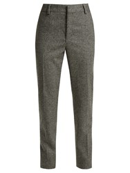 Saint Laurent Prince Of Wales Check Wool Trousers Black Grey