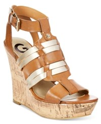 G By Guess Distinct Platform Wedge Sandals Women's Shoes Cognac