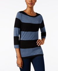 Inc International Concepts Striped Boat Neck Top Only At Macy's Black Heather Blue
