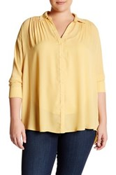 14Th And Union Long Sleeve Pleated Tunic Plus Size Yellow