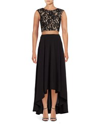 Aidan Aidan Mattox Two Piece Lace Crop Top And High Low Crepe Skirt Set Black Nude