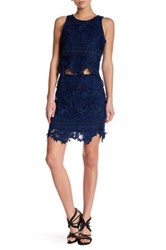 Lovers Friends Crochet Lace Knit Skirt Blue