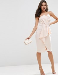 Asos Scuba Bandeau Midi Dress With Heavy Fold Peplum Blush Pink