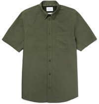 Norse Projects Anton Slim Fit Button Down Collar Cotton Poplin Shirt Green