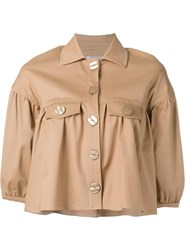 Vivetta Ruffled Cropped Jacket Brown