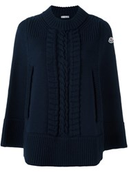 Moncler Cable Knit Cape Jumper Blue