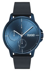 Hugo Leather Strap Watch 42Mm Blue