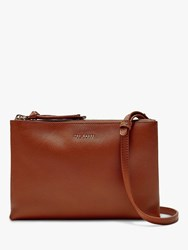 Ted Baker Danii Leather Double Zip Cross Body Bag Brown