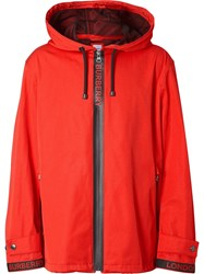 Burberry Logo Detail Nylon Cotton Twill Hooded Jacket Red