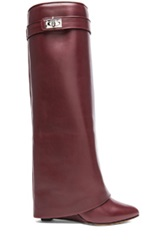 Givenchy Shark Lock Tall Leather Pant Boots In Red