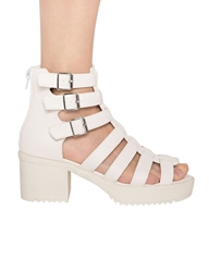 Pixie Market White Gladiator Platform Buckled Sandals