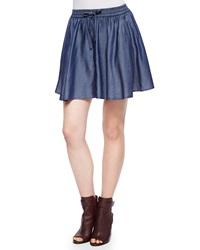 J Brand Ready To Wear Feliz Pleated Chambray Short Skirt