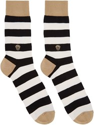 Alexander Mcqueen Black And Cream Striped Skull Socks