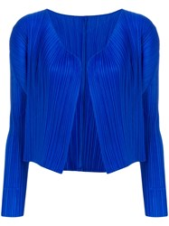 Issey Miyake Pleats Please By Pleated Cropped Jacket Blue