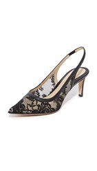 Monique Lhuillier Poppy Lace Kitty Heels Black