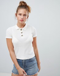 Pull And Bear Pullandbear Knitted Polo Top In Cream