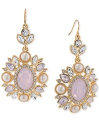 Carolee Gold Tone Crystal And Imitation Pink Pearl Chandelier Earrings