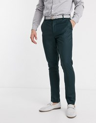 New Look Skinny Suit Trouser In Dark Green