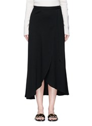 Theory 'Amazing' Crepe Wrap Midi Skirt Black